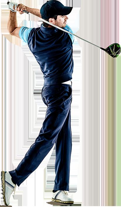 Men swinging a golf club