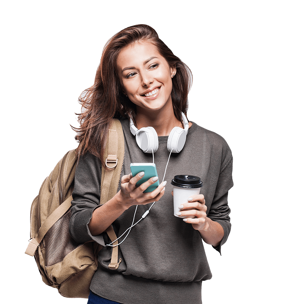 young woman with earphones, coffee and a smartphone smiling