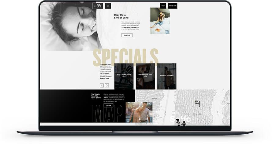 laptop showing hotel 54's website
