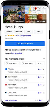 Mobile phone displaying Google Results page