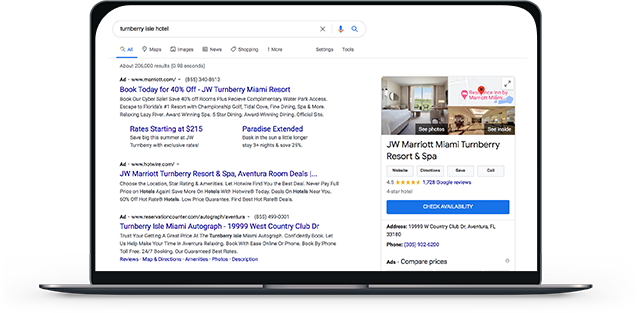 Laptop displaying google search results