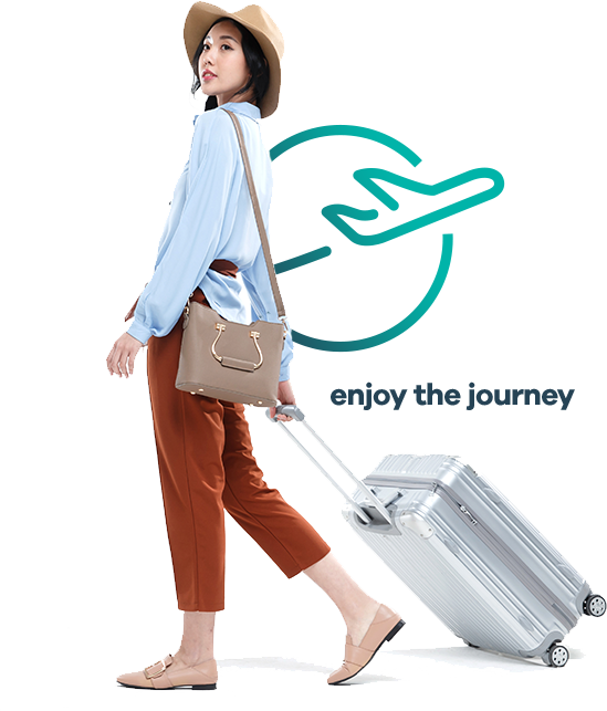 Asian Woman pulling a travel bag