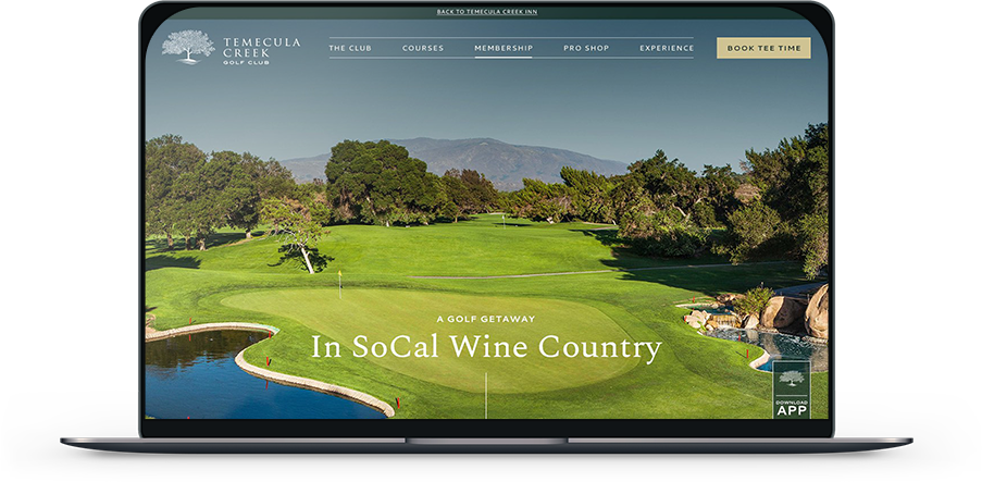Laptop showing Temecula Creek Inn website