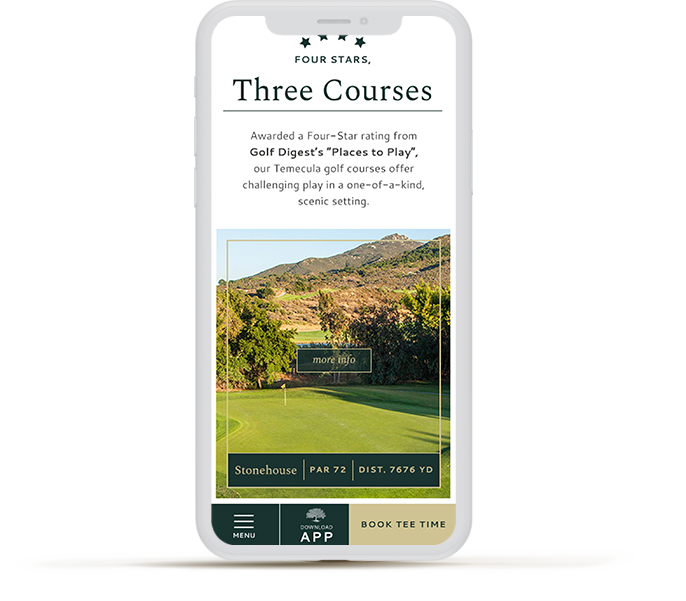iPhone device showing a golf website
