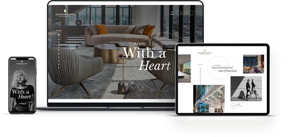 Floating ipad devices with hotel websites on screen