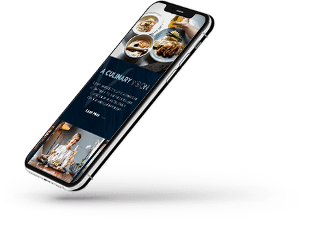 Floating mobile device with hotel websites on screen