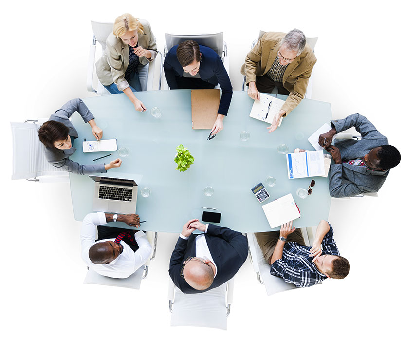 overview of a meeting table
