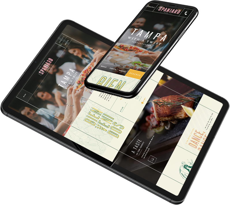 iPad and iPhone devices showing Spaniard restaurant website