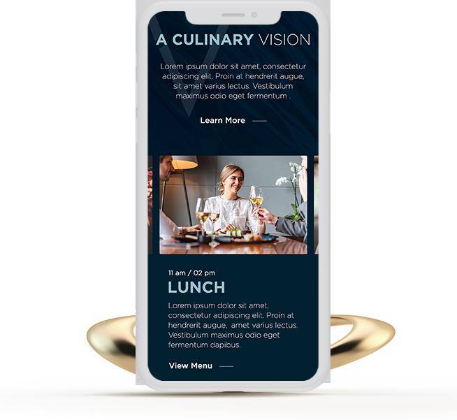 iPhone device showing restaurant website