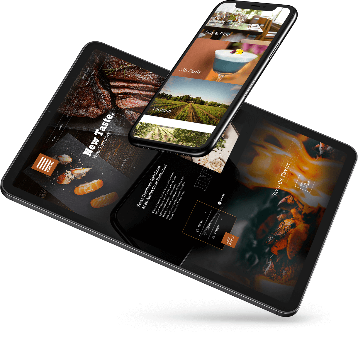 floating mobile devices with different food and beverage sites on the screen