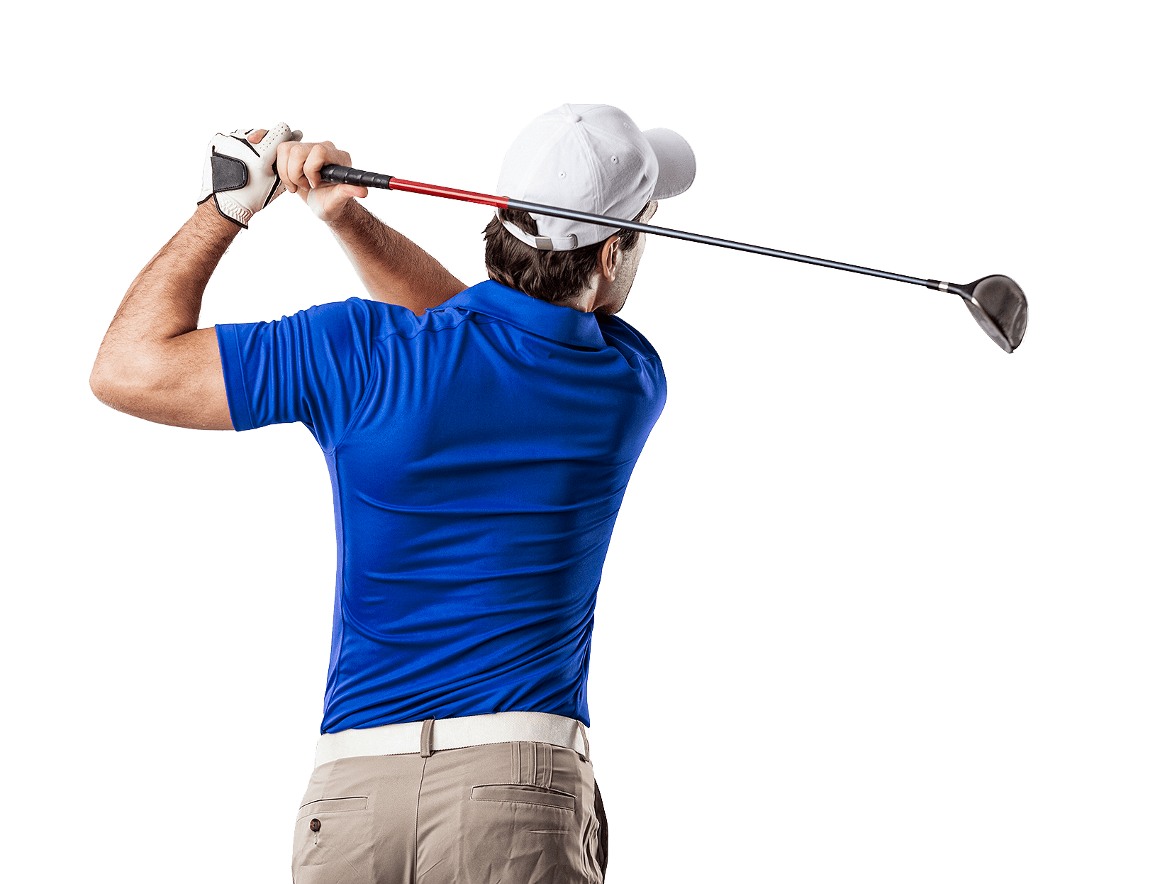 man in blue polo playing golf