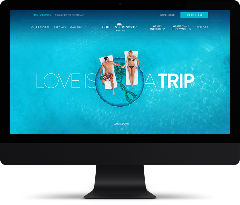 laptop showing a beautiful hotel websites with blue beaches and lounge chairs