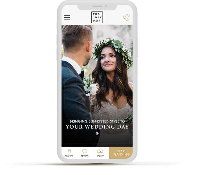 mobile phone with a picture of a bride and groom