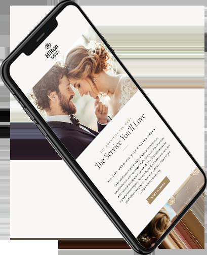 iPhone showing Hilton website